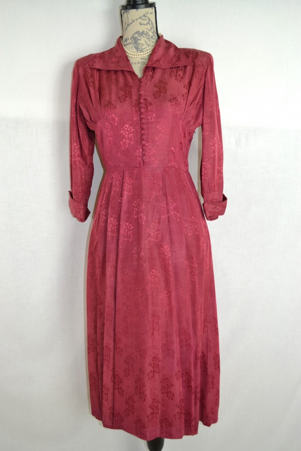 Original 1940\'s Cherry Red Jacquard Howarth Goodwood Tinwood Dress |